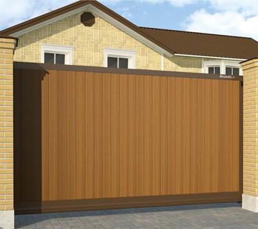 Откатные ворота DoorHan 3500х2100 мм с заполнением сендвич-панелями купить в Белгороде